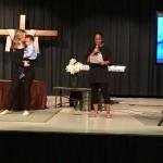 Two wonderful ladies giving their testimonies before being baptized.